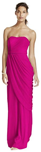 Long Strapless Mesh Bridesmaid Dress With Side Draping Style W10482, Begonia, 4 (Begonia Dresses)
