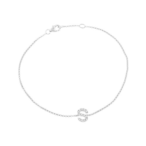 14k White Gold Diamond Studded Letter ''S'' Initial Bracelet, 7.5'' by Isha Luxe-Initials