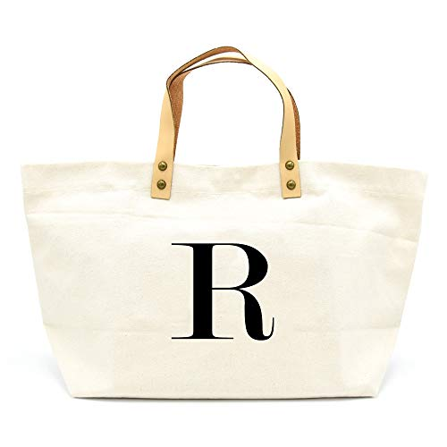 PumPumpz Canvas Tote Bag, Natural Color and Classic Monogrammed gifts. (R)