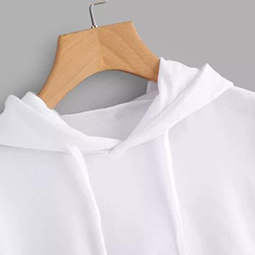 Felpe Pullover Cappuccio Donna Corta Ragazza Hoodie Bianco Bluestercool Con Elegante qw0g1dq4