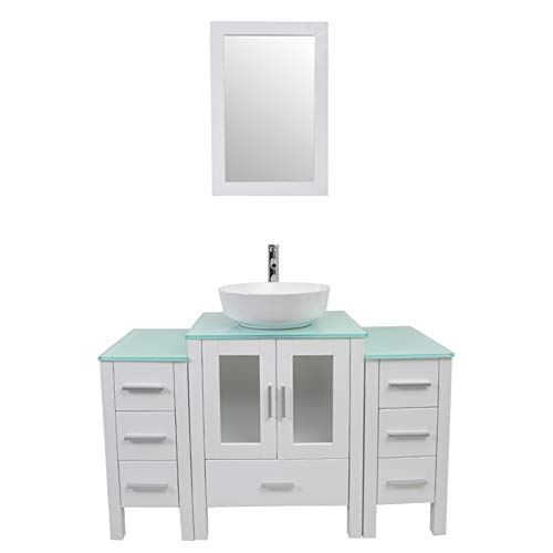 - Tonyrena 48 inch Bathroom Vanity in White with Mirror and Tempered Glass Countertop,Include White Round Vessel Sink Set