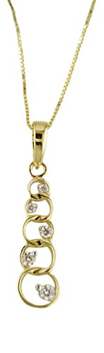 Women's Diamond Graduated Circle Pendant Necklace 14k Yellow Gold .18 cttw