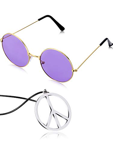 Tatuo Hippie Dressing Accessory Set Hippie Glasses and Peace Sign Necklace (Purple)
