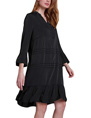 Bsubseach Black Casual V Neck Beach Shirt Tunic Dress Ruched Long Sleeve Swimsuit Cover Up Swimwear for -