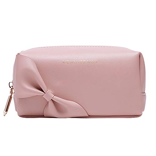 Small Makeup Bag for Purse, Cute Make up Pouch Mini Cosmetic Organizer Bag Handy Pouch with Pocket Gold Zippers Bow Pink(6.7x4x3 in)