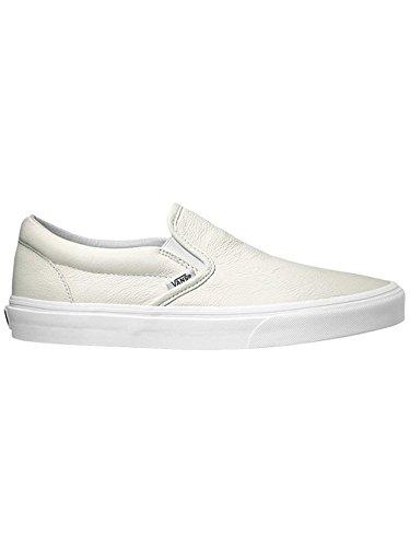 Vans Classic Slip-On Sneakers (Premium Leather) True White Mono Mens 11.5