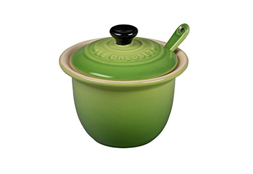 Le Creuset Condiment Spoon - Le Creuset Stoneware Condiment Pot with Spoon, 6 3/4-Ounce, Palm