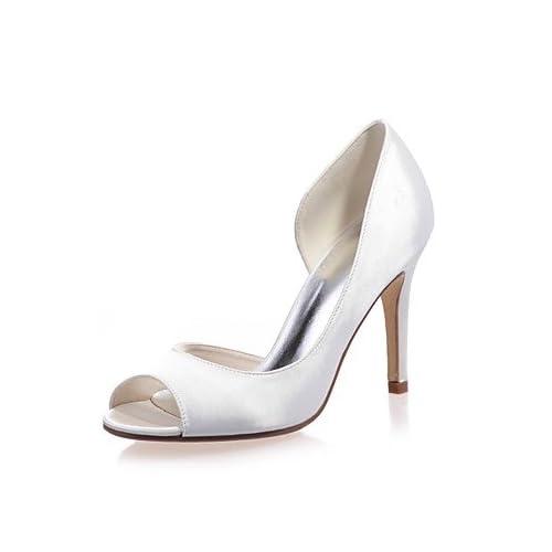 El mejor regalo para mujer y madre Mujer Zapatos Satén Primavera Verano  Pump Básico Zapatos de boda Tacón Stiletto Punta abierta Para Boda Fiesta y  Noche ... 4eb6199794a