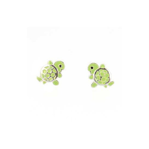 Turtle Earrings, Sterling Silver and Green Enamel Turtle Stud Earring for Girls, #7581