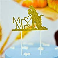 Farmerly 1pc Multi-Shape Cupcake Cake Topper Cake Flags with Paper Straw for Wedding Birthday Party Baking Decoration Supplies : Mr Mrs Gold
