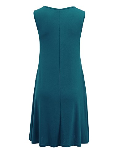 Vous Réunissez Californie Womens Poche Swing Sans Manche Solide Casual Dress- Made In Usa Wdr1519_teal