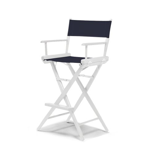 Telescope Casual World Famous Bar Height Director Chair, Navy with White Frame (Directors Bar Chair)