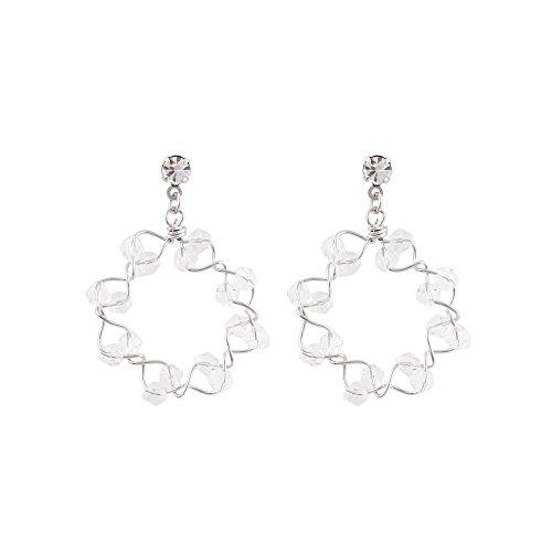 BLING VIOLET Twinkle Stars Dangle Earrings for Women (Silver color)