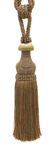 "Decorative Curtain & Drapery Tassel Tieback / Lt Bronze, Olive Green, Terracotta / 12"" tassel, 32"" Spread (embrace), 7/16"" Cord, Baroque Collection Style# TBBL-1 Color: Chaparral 5615 ()"