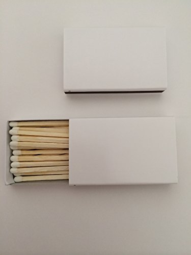 50 Plain White Cover Matchboxes with Wooden Matchsticks