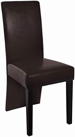 Xingshuoonline chaises de Salle à Manger en Cuir Artificiel 2unités Marron foncé Chaise Dimensions: 43x 53x 93cm (Largeur X Profondeur X Hauteur)