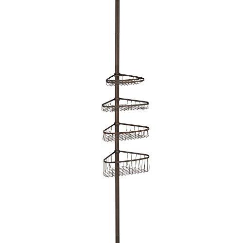 InterDesign York Metal Wire Tension Rod Corner Shower Caddy, Adjustable 5'-9' Pole and Baskets for...