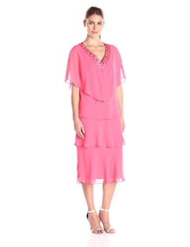 (S.L. Fashions Women's V-Neck Jewel Trimmed Jacket with Multi Tiered Dress, Flamingo Pink 12)