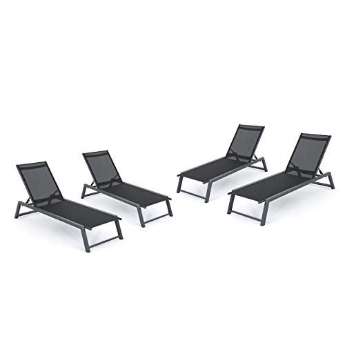 Mesa Outdoor Black Mesh Chaise Lounge with Grey Finished Aluminum Frame (Set of 4)