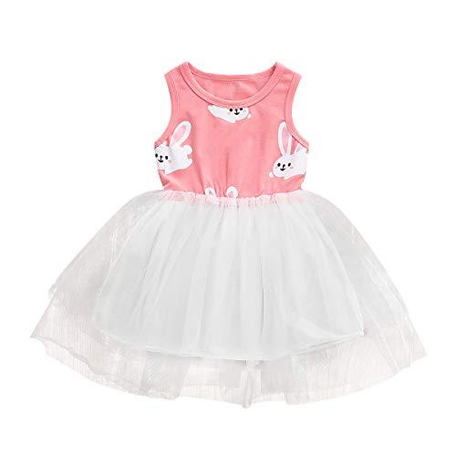 Easter Toddler Infant Baby Girls Dress Outfits Bunny Rabbit PrintPrincess Party Tutu Skirt Summer Ruffle Dress Clothes (Pink, 6-12 Months) ()