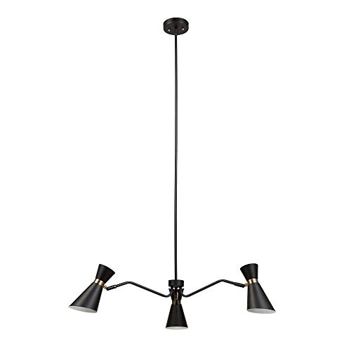 Belmont Light 3 Collection - Globe Electric 65854 Belmont 3-Light Chandelier, Black Color, Satin Finish, Gold Accents