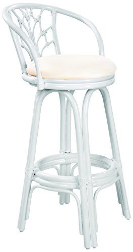 Hospitality Rattan 806-6094-W/W-B Valencia Indoor Swivel Rattan & Wicker Bar Stool in Whitewash Finish with Cushion, 30