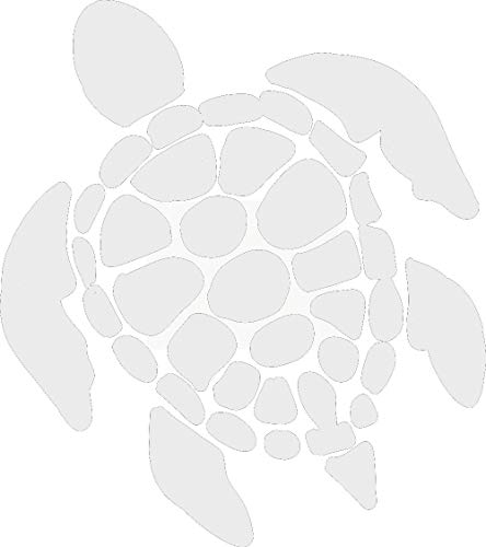 hBARSCI Sea Turtle Vinyl Decal - 5 Inches - for Cars, Trucks, Windows, Laptops, Tablets, Outdoor-Grade 2.5mil Thick Vinyl - White ()
