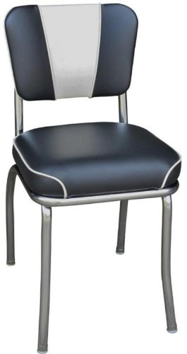 Richardson Seating Retro 1950s V-Back Chrome Waterfall Seat Diner Chair in Black and White