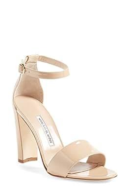 Manolo Blahnik Women's Lauratopri Sandals (37 EU / 7 B (M) US, Nude Patent)