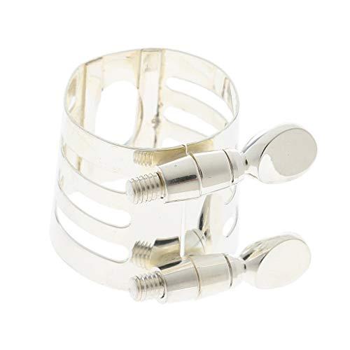 Sax Part Alto - Flameer Durable DIY Metal Mouthpiece Clamp Ligature Clip for Alto Saxophone Sax Replacement Part - Silver, as described