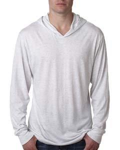 - Next Level 6021 Tri-Blend Long Sleeve Hoody - Heather White - L
