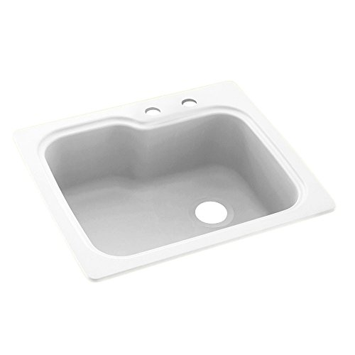 Swaoi|#Swanstone KS02522SB.010-2C 25-In X 22-In Solid Surface Kitchen Sink 2-Hole, White,