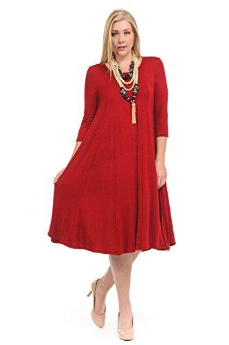 Pastel by Vivienne Women's A-Line Trapeze Midi Dress Plus Size XX-Large Red