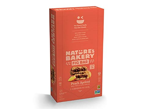 Nature's Bakery Whole Wheat Fig Bars, 1- 12 Count Box of 2 oz Twin Packs (12 Packs), Peach Apricot, Vegan, Non-GMO, Packaging May Vary
