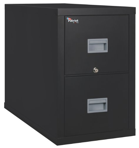 FireKing Patriot 2P2131-CBL One-Hour Fireproof Vertical Filing Cabinet, 2 Drawers, Deep Legal, 21' W x 31' D, Black, Made in USA