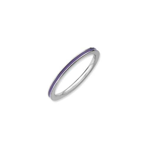1.5mm Sterling Silver Stackable Purple Enameled Band Size 9