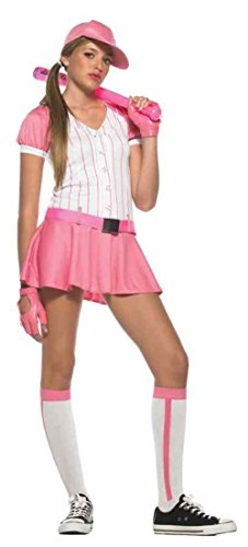 Halloween Outfits Cute Teenagers (UHC All Star Baseball Player Pink Cute Teen Girl's Halloween Costume, Teen S/M)