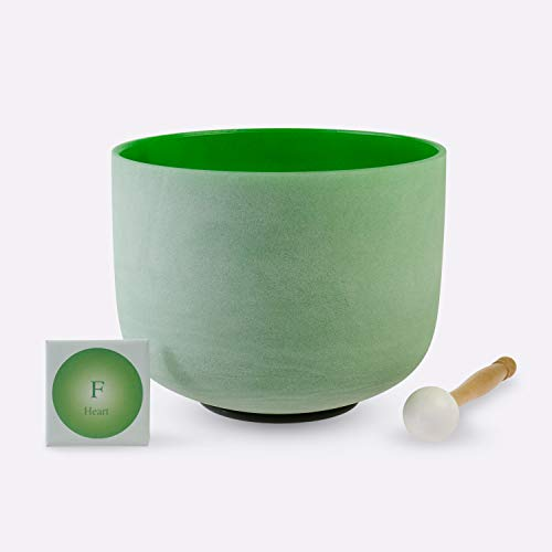 TOPFUND Singing Bowls F Note Crystal Singing Bowl Heart Chakra Green Color 8 inch (O ring and rubber mallet Included)