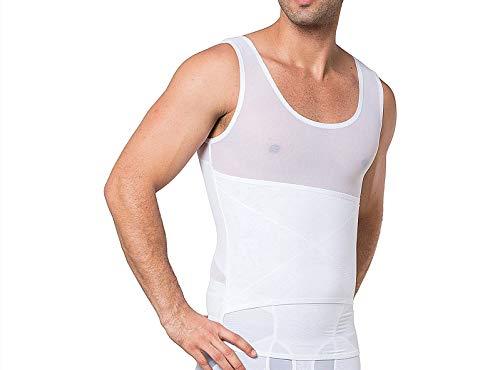 LARDROK Men's Mesh Slimming Body Shaper Compression Shapewear Shirt with Side Hook Slim Vest Tummy Shaper Tight Tank Top White