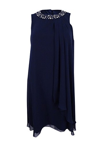 Vince Dress Pleated (Vince Camuto Womens Emebllished Pleated Cocktail Dress Navy 12)
