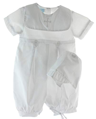 Pintuck Square - Boys White Christening Outfit Square Cross Collar with Bonnet
