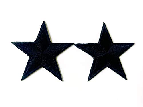 Tyga_Thai Brand Set 2 pcs. Mini Black Star Rank Sign Symbol Badge Logo Jacket T-Shirt Sew Iron on Embroidered Applique Badge Sign Patch Clothing etc. (Iron-Star-BKWH-Mini)