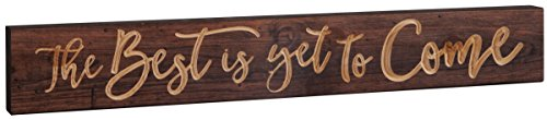 P. GRAHAM DUNN The Best is Yet to Come 23.75 x 5.5 Inch Pine Wood Carved Barnhouse Block Tabletop Sign