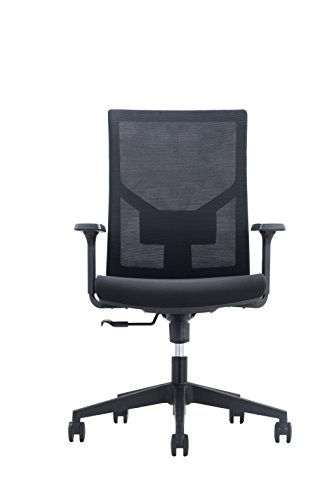 Sitzone 2018 New Black Office Task Chair with Adjustable Armrest-Mid Back Desk Chair with Adjustable Lumbar Support-Three Angles Lock Mechanism-Suitable for Computer Working and Home Office Place