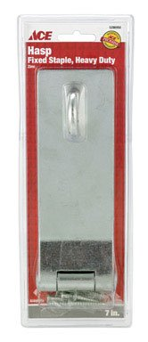 Ace Living Accents 01-3725-113 ''Heavy-duty'' Fixed Staple Safety Hasp 7'' - Zinc