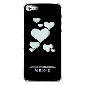 GX nuevo sentido amando la luz del flash del corazón llevó la caja dura el cambio de color para el iphone 5 , Black