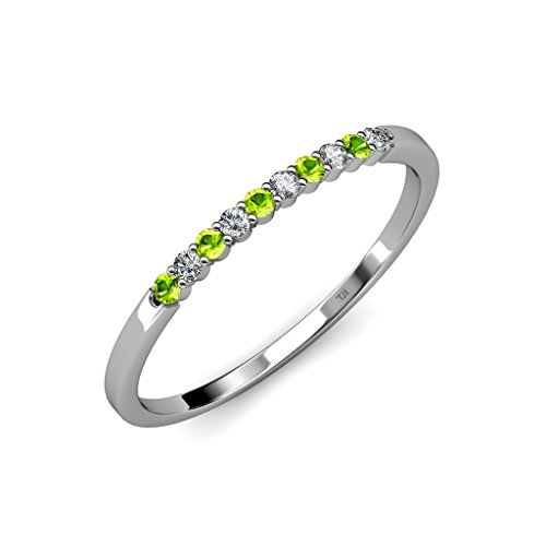 Peridot and Diamond (SI2-I1, G-H) 10 Stone Wedding Band 0.25 ct tw in 14K White Gold.size (0.25 Ct Peridot Ring)
