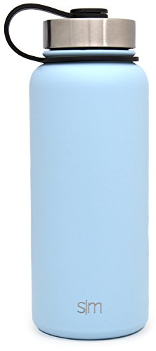 Simple Modern 32oz Summit Water Bottle + Extra Lid - Vacuum Insulated Stainless Steel Wide Mouth Hydro Travel Mug - Powder Coated Double-Walled Flask - Robin's Egg Blue
