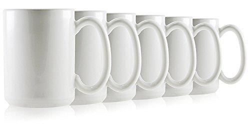 Hikari 16oz Large White Coffee Tea Mugs. Classic Style Heavy Duty Mugs Made in USA w/Large Handles, Set of (White Large Mug)