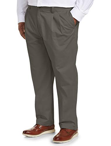 Amazon Essentials Men's Big & Tall Loose-fit Wrinkle-Resistant Pleated Chino Pant fit by DXL, Taupe, 46W x - Pants Chino 32 Pleated